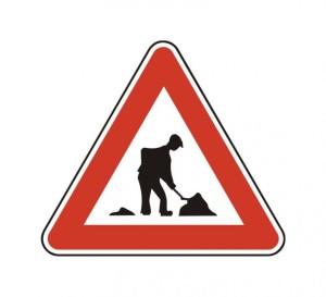 značka-práca na ceste