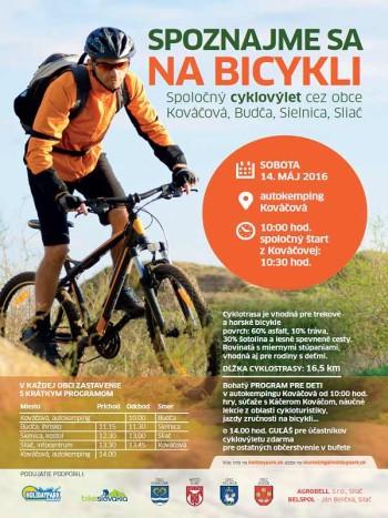 Spoznajme sa na bicykli 14.05.2016 prejazd obcami Kovacova, Budca, Sielnica, Sliac