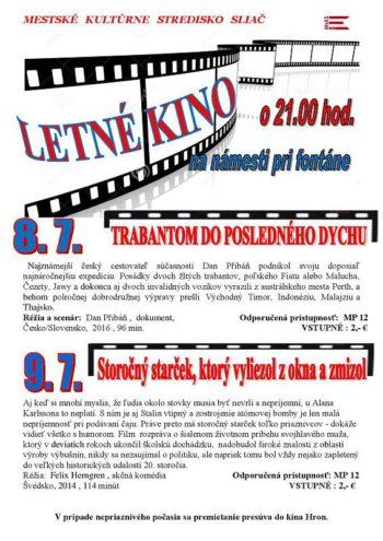 Letne kino na namesti pri fontane 8. a 9. jul 2016 dokument Trabantom do posledneho dychu akcna komedia Starcek, ktoryvyliezol z okna a zmizol